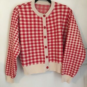 Vintage Red Cream Check Checkered Cardigan Sweater